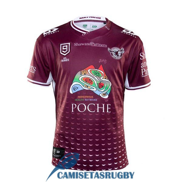 camiseta manly sea eagles 9s rugby rojo 2020