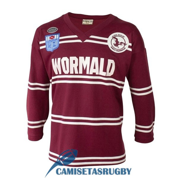 camiseta manly sea eagles rugby manga largas retro 1987
