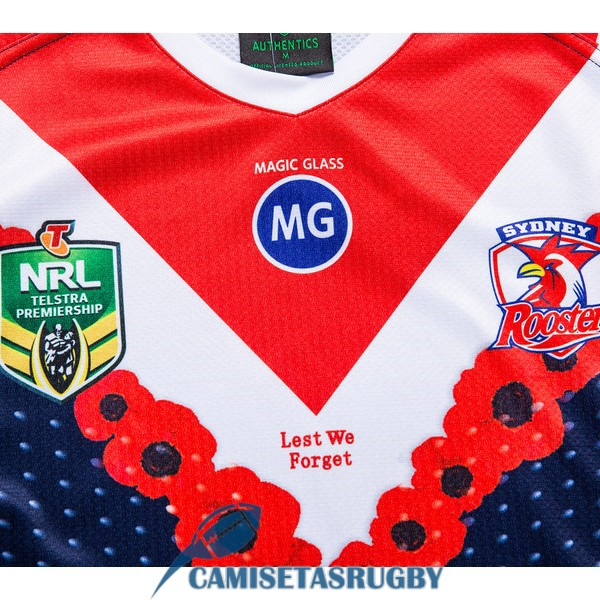 camiseta sydney roosters rugby conmemorativa 2018-2019