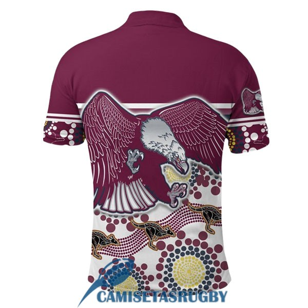 polo manly sea eagles rugby rojo blanco negro 2020-2021