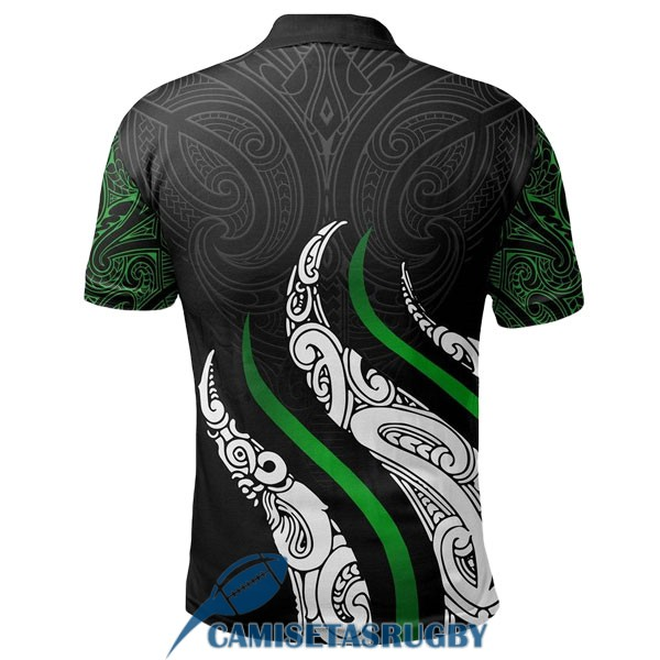 polo maori all blacks rugby negro blanco verde 2020-2021